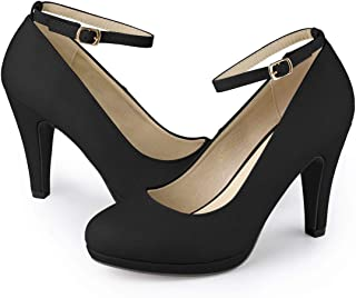 Women's Round Toe Stiletto Heel Ankle Strap Pumps