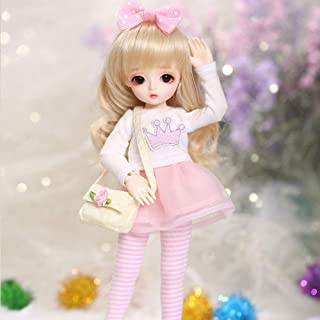 Ball Mechanical Jointed BJD Doll 1/6 26Cm 10Inch SD Doll DIY Toys with Full Set of Clothes Wig Shoes Accessories,Browneyeball