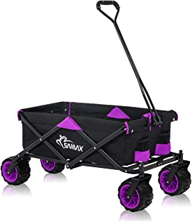SAMAX Carrito de Offroad a Mano Plegable Coaster Carretillas de Jardín Playa de Carro Offroad - Negro/Púrpura