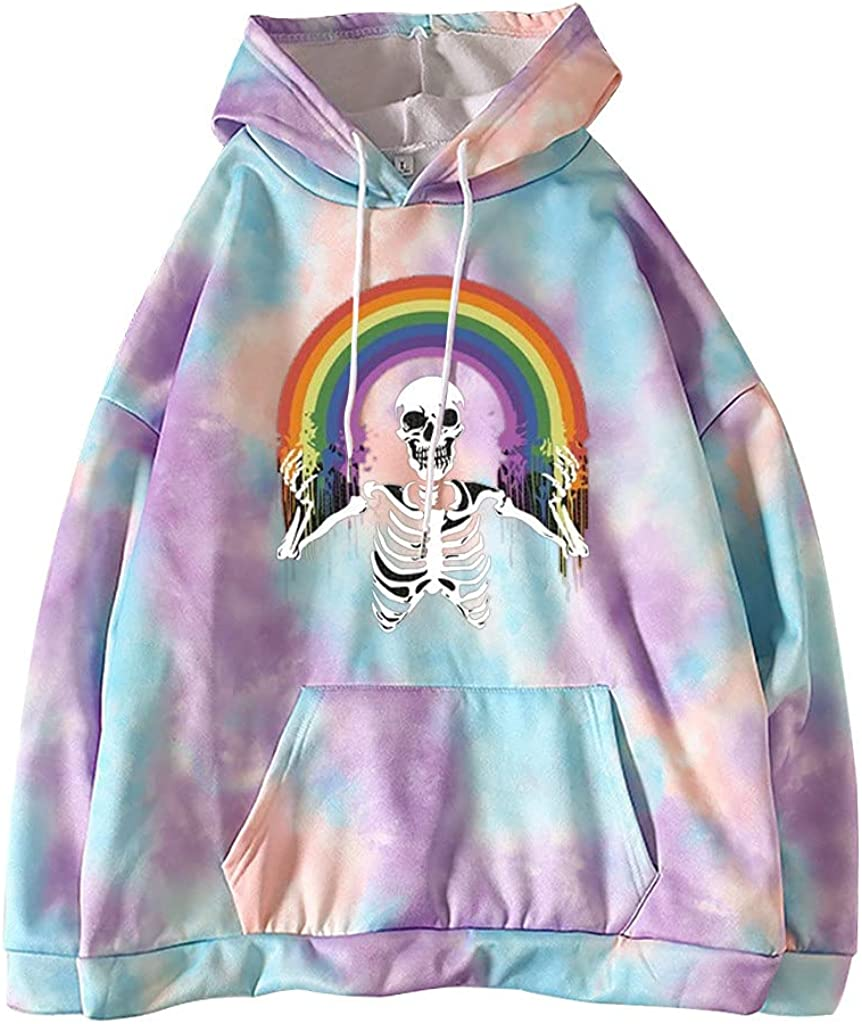 Toeava Hoodies for Women, Women's Fashion Skeleton and Flower Print Pullover Hoodie Sweatshirt Drawstring Pocket Tops