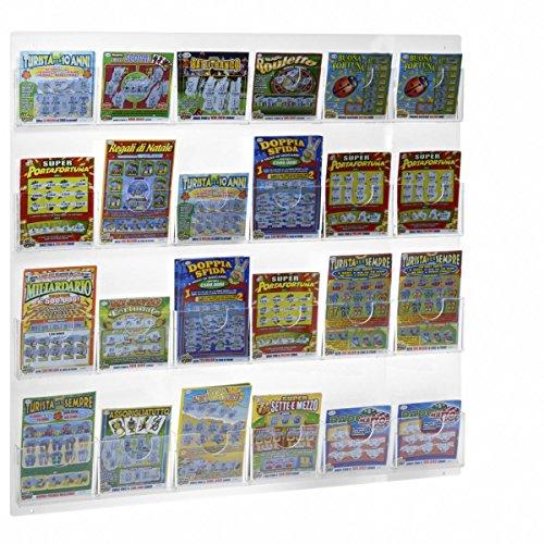 Avà srl Espositore schedine e gratta e Vinci da Parete in plexiglass Trasparente a 24 Tasche - Misure: 68 x H68 cm