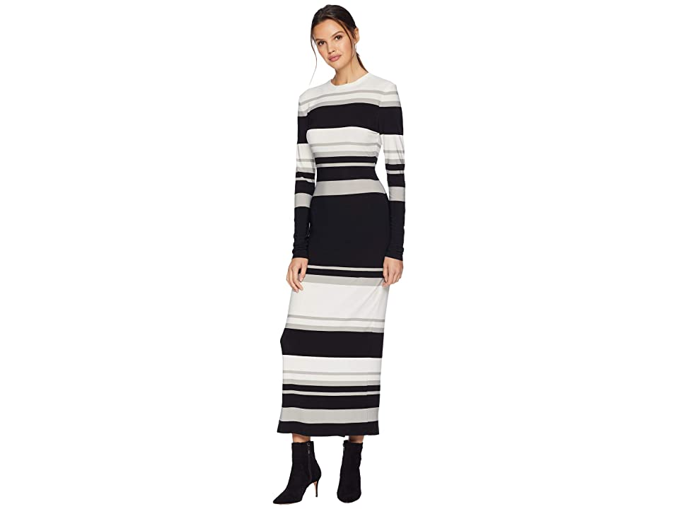 KAMALIKULTURE by Norma Kamali Long Sleeve Crew Neck Gown (Irregular Stripe) Women