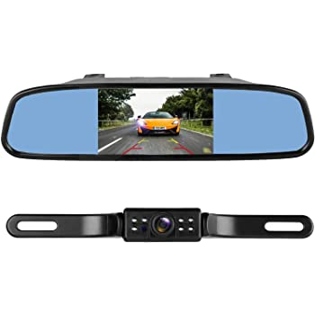 [GJFJ_338]  Amazon.com: LeeKooLuu Reverse/Rear View Camera and Mirror Monitor Kit Only  Wire Single Power Rear View/Full time View Optional for Car Truck with 7  LED Night Vision Waterproof Grid Lines | Rearview Mirror Wiring Diagram Tv |  | Amazon.com