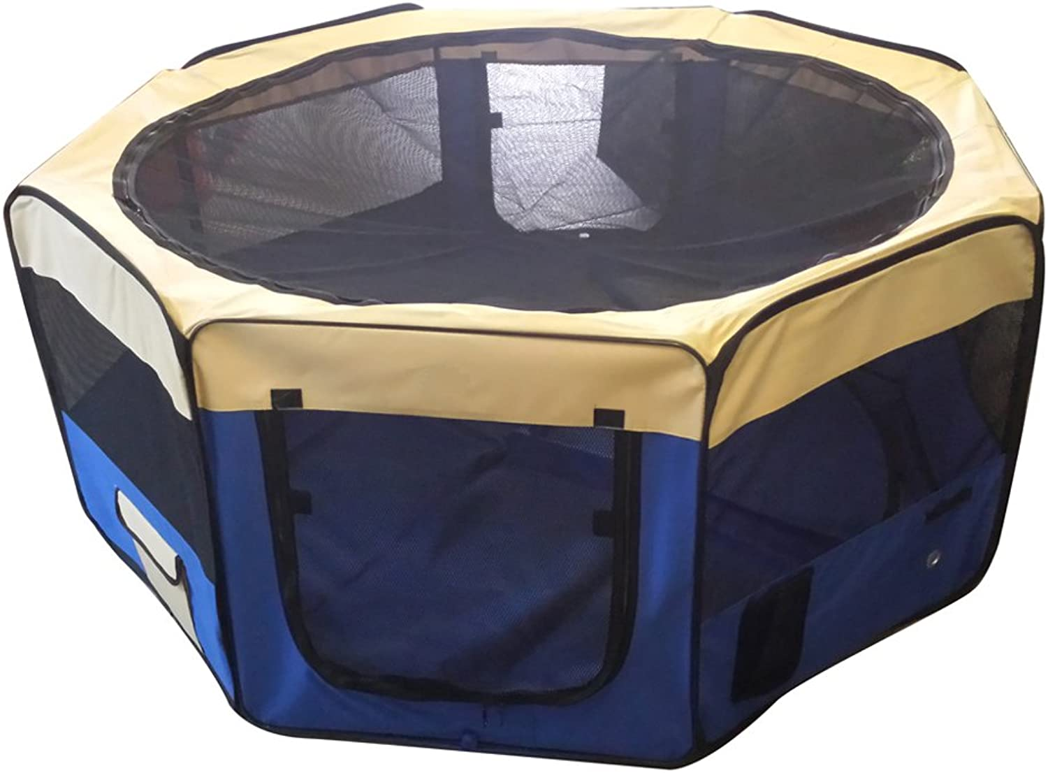 Cool Runners 34inch x 34inch x 24inch Indoor Outdoor Portable Soft Side Pet Play Pen Kennel for Dogs or Cats (8 Panels)