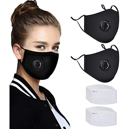 Festivals 1+5 1pcs Adults Cotton Face M/àsc Bandanas Reusable with Breathing Valve Sports 5pcs Activated Carbon Filter Replaceable for Cycling Riding Outdoors