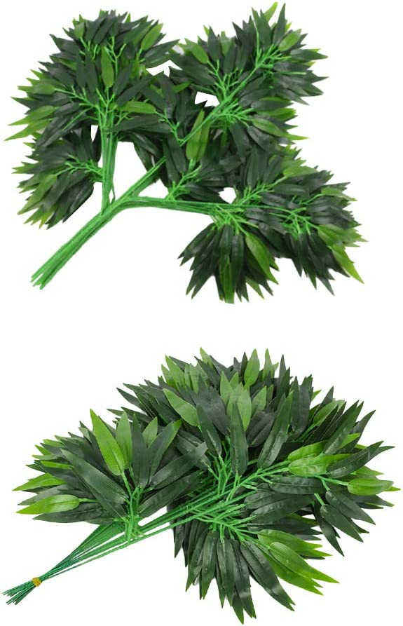 FLAMEER 24pcs Bamboo Plant Bush OFFer Hom Sales results No. 1 Foliage Leaf for Stems