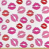 ABAKUHAUS Lippen Stoff als Meterware, Rosa und Rot