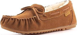Women's Sheepskin Moccasins Cow Suede Memory Foam Slippers Indoor Outdoor Shearling Winter Shoes