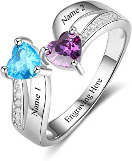 Personalized Sterling Silver Mother Daughter Rings with 2 Heart Simulated Birthstones Custom Women Promise Rings for Her