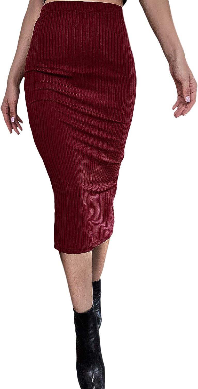 Milumia Women's Split Back Ribbed Knit High Waisted Bodycon Pencil Midi Work Skirt