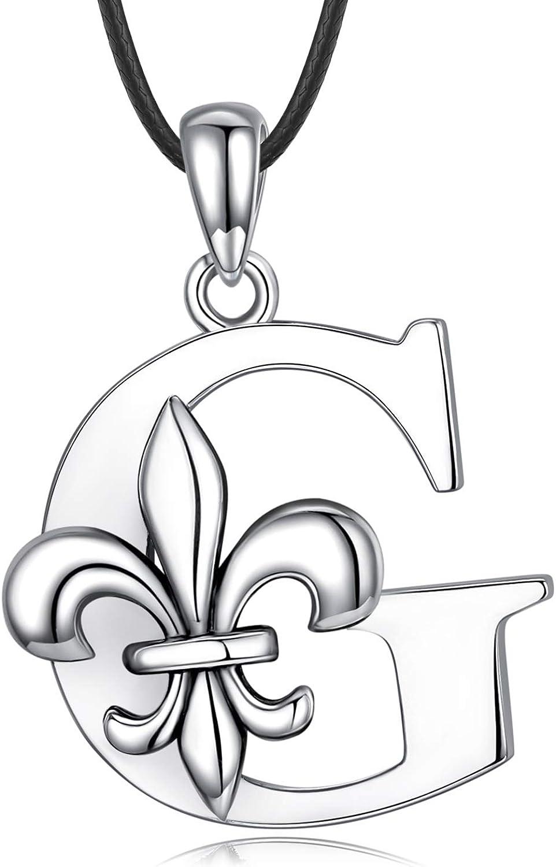 Sterling Silver Initial famous Ranking TOP7 Necklace Dainty Necklaces Fleur de 2 Lis