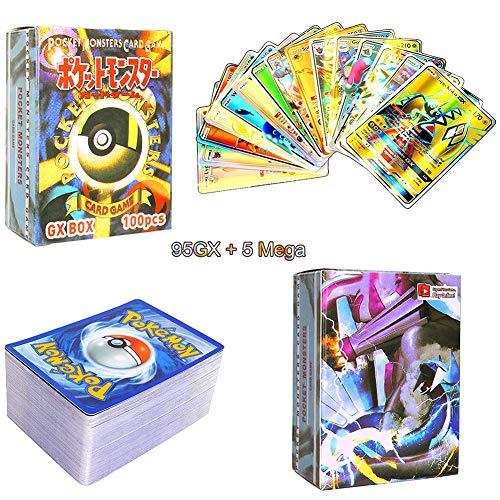 LICHENGTAI Carte Pokemon GX, 100 Pezzi Pokemon Carte, GX Carte Pokemon, 95GX+5Mega Carte Pokemon Box, Pokémon Card Game, Pokemon Card Set Adatto per Giochi, Regali per Bambini