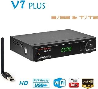 GTMEDIA V7PLUS HD Free to air Satellite Receiver FTA DVB-S2/T2 Digital TV Sat Decoder with Antenna WiFi USB/Full HD 1080P / H.265 HEVC/Support Youtube PVR CCcam