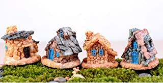 Beauy Girl 4 Pcs Miniature Fairy Garden Stone House, Resin Village House Fairy Garden Kits Figurines, Mini Fairy Cottage H...
