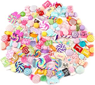 Toyvian Candy Sweets Charms Set Mixed Candy Beads Jewelry Hairware Accessories (Random Patterns) 50 Pcs