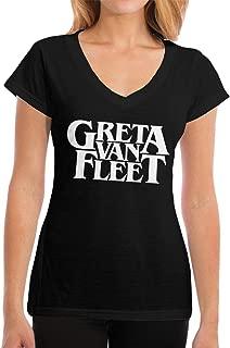 Fional Womens V-Neck T-Shirt Greta Van Fleet Summer Printed Short Sleeves Cotton Casual Tops