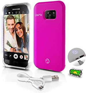 Samsung Galaxy S7 Phone Case - Lite-Me Selfie Lighted Edge Smart Mobile Case with Built-in Power Bank, LED Lights - Heavy Duty Cellphone Protection Cover for Men/Women - SereneLife SL302S7PN (Pink)