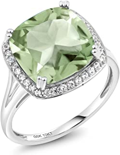 Gem Stone King 6.74 Ct Cushion Green Prasiolite White Diamond 10K White Gold Ring (Available in size 5, 6, 7, 8, 9)