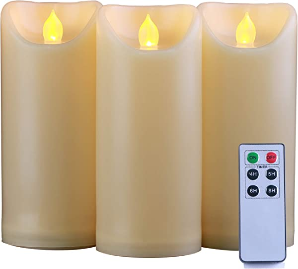 Homemory 3PCS 7 7 7 Waterproof Flameless Candles With Timer And Remote Control Outdoor Battery Operated Flickering LED Candles Ivory Appearance And Amber Yellow Light