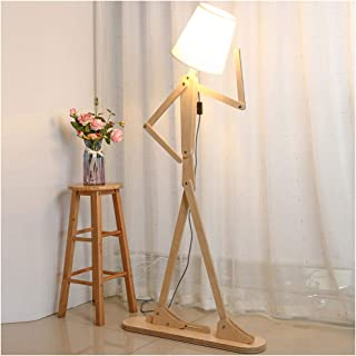 HROOME Modern Tall Wood Floor Lamp - Standing Floor Lamps Adjustable Arm Art Design - DIY Assembly Contemporary Decorative 5ft Cool Lights for Reading Corner Living Room Kids Bedrooms Office