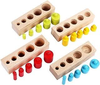 ACMEDE Montessori in Legno Cilindro Presa Family Pack di Apprendimento Precoce Educazione Giocattolo Precoce Sviluppo Sensoriale Regalo