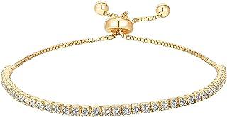 14K Gold-plated Bracelets Cubic Zirconia Classic Tennis Bracelet for Women | Adjustable Slider chain bracelet