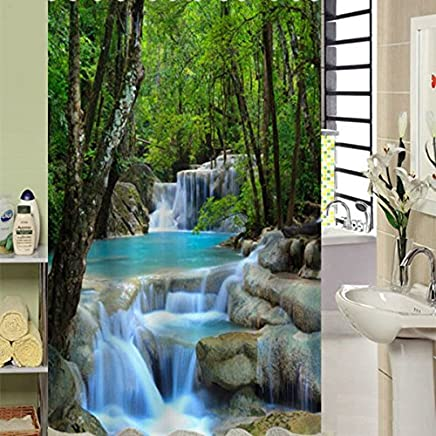 Beddinginn Fabric Decor Shower Curtain 3D Vivid Nature Beauty Waterproof Waterfall and Forest 72 x 78 Bathroom Shower Curtain Set with 12pcs Hooks