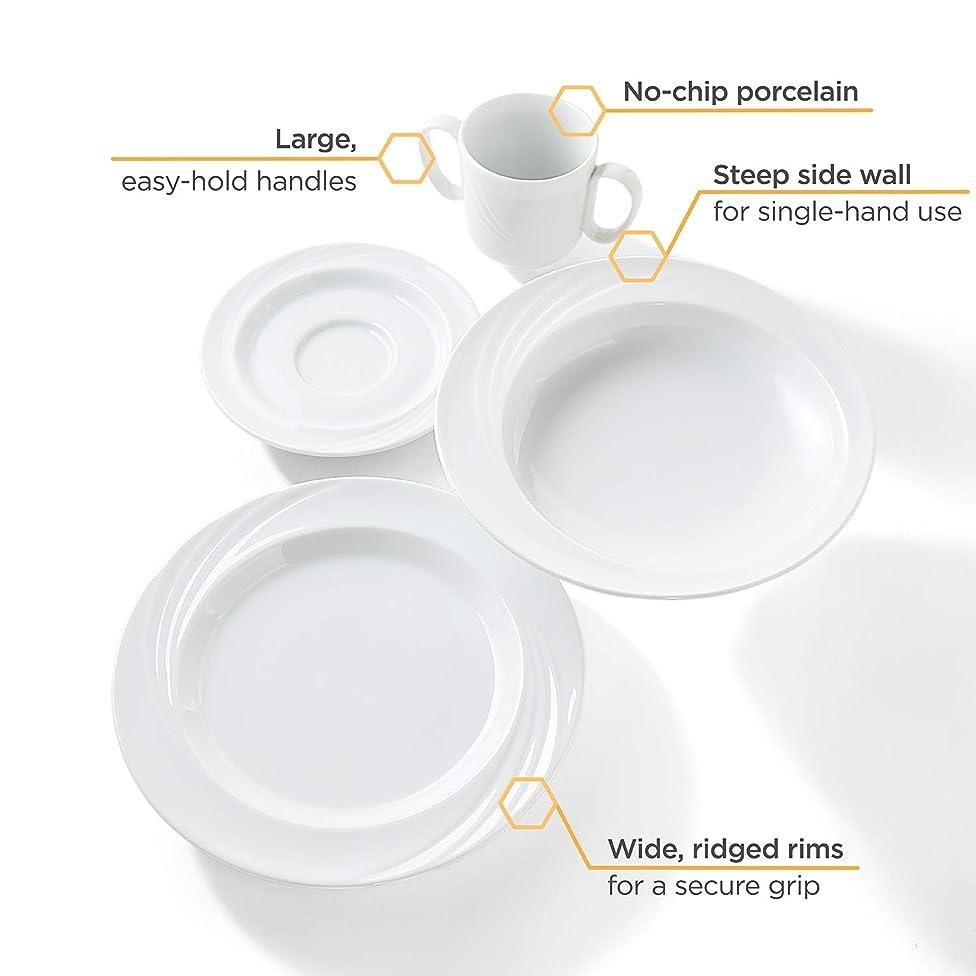 Libbey Intuitive Diningware Donna Senior 4-Piece Adaptive Dinnerware Set, White