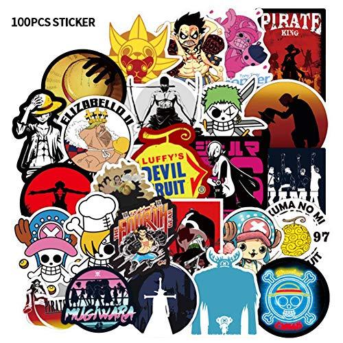 lunanana Anime One Piece Luffy Aufkleber, Vinyl Kawaii Sticker für Laptop, Wasserflaschen, Gepäck, Skateboard, PS4, Xbox One, Phone, Car Erwachsene(75 Set)