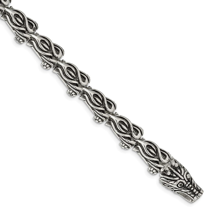 Beautiful Stainless Steel Antiqued Dragon 8.75in Bracelet