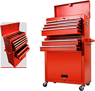 Tool Box Rolling 2 in 1 Portable Tool Chest Cabinet Top&Bottom Key Lockable Storage Toolbox with 4 Swivel Wheels (2pc with brake), 6-Sliding Drawers Removable Toolbox Organizer, Red