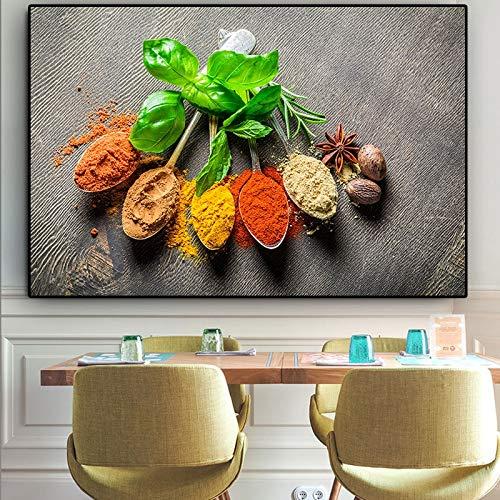 Granos especias cuchara planta verde cocina lienzo pintura Cuadros carteles e impresiones pared arte comida imagen sala de estar decoración del hogar 60x90 CM (sin marco)