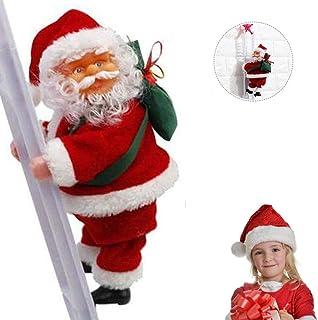 AETOSES Preciosa Escalera Eléctrica de Papá Noel, Creativo Subiendo y Bajando Muñeca de Peluche de Santa Claus con Música, para Fiesta de Navidad Puerta Decoración de Pared Regalos