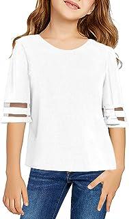 دختران Blibea آستین کوتاه گره گاه به گاه آستین کوتاه تاپ جلو تی شرت اندازه 4-13