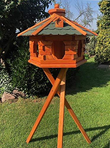 DARLUX Vogelhaus von S bis XXL Futterhaus Vogelhäuschen mit oder ohne Ständer in Braun mit Rot, Grün oder Blau (Gr. XL - mit Ständer, Grün/Braun)