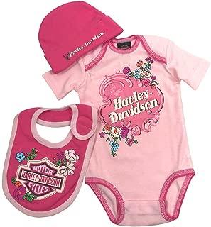 HARLEY-DAVIDSON Baby Girls' Glittery 3 Piece Creeper Gift Box Set, Pink 2501721