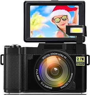 Cámara digital Vlogging Camera para youtube 2.7K Ultra HD 24MP Video 3.0 pulgadas Pantalla giratoria de 180 grados con luz de flash retráctil