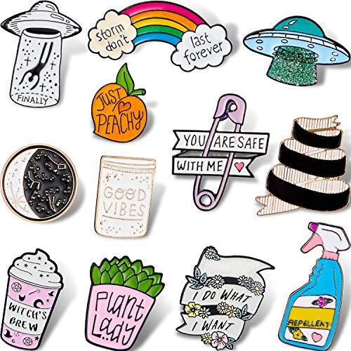WILLBOND 12 Piezas Broches de Letras de Esmalte Adorables Juego de Alfileres de Dibujos Animados Broches de Esmalte de Dicho para Ropa Bolsa Abrigo Accesorios Manualidades (Arcoiris)