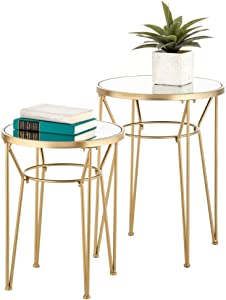 mDesign Round Metal & Mirror in-Lay Accent Table with Hairpin Legs- Side/End Table - Decorative Legs, Mirror Top - Home Decor Accent Furniture for Living Room, Bedroom - 2 Pack - Soft Brass/Mirror