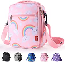 Kids Lunch box Insulated Soft lunch Bag Mini Cooler Thermal Meal Tote Kit with Handle and Pocket for Girls Boys Cute Rainbow Pink