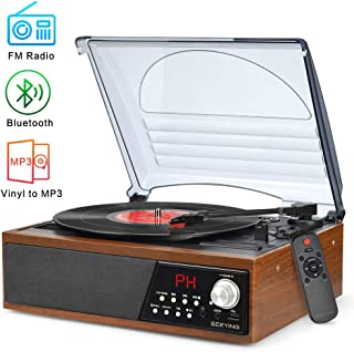 Record Player Turntable,Vinyl Bluetooth Radio LP Player with Speaker USB Vinyl to MP3 Encoding,Vintage 3 Speed Phonograph