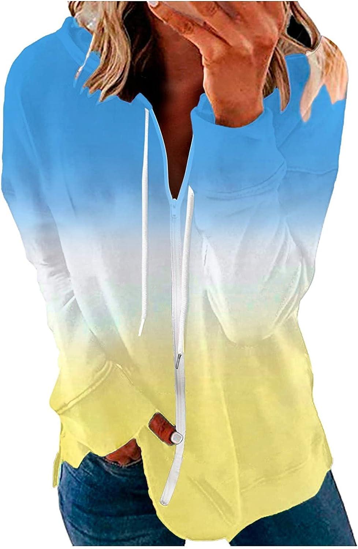 Auwer Women's Long Sleeve Tie Dye Hoodies Plus Size Zip up Sweatshirts Jackets