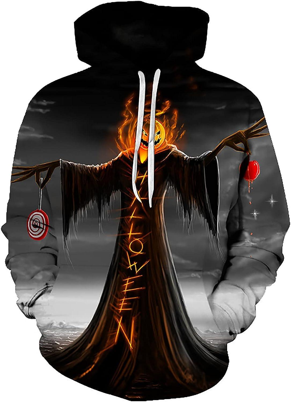 Bravetoshop Men's 3D Printed Hooded Sweatshirt Halloween Novelty Graphic Long Sleeve Drawstring Pullover Tops