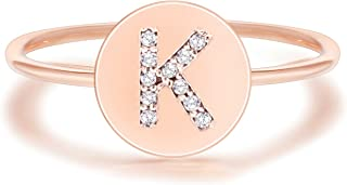 PAVOI 14K Rose Gold Plated Initial Ring Stackable Rings for Women | Fashion Rings
