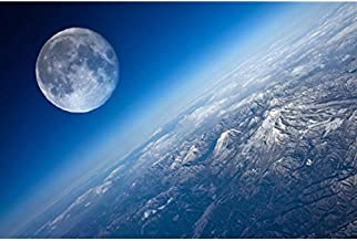 Earth and Moon - Nature Poster Canvas Art Print 12x16inch