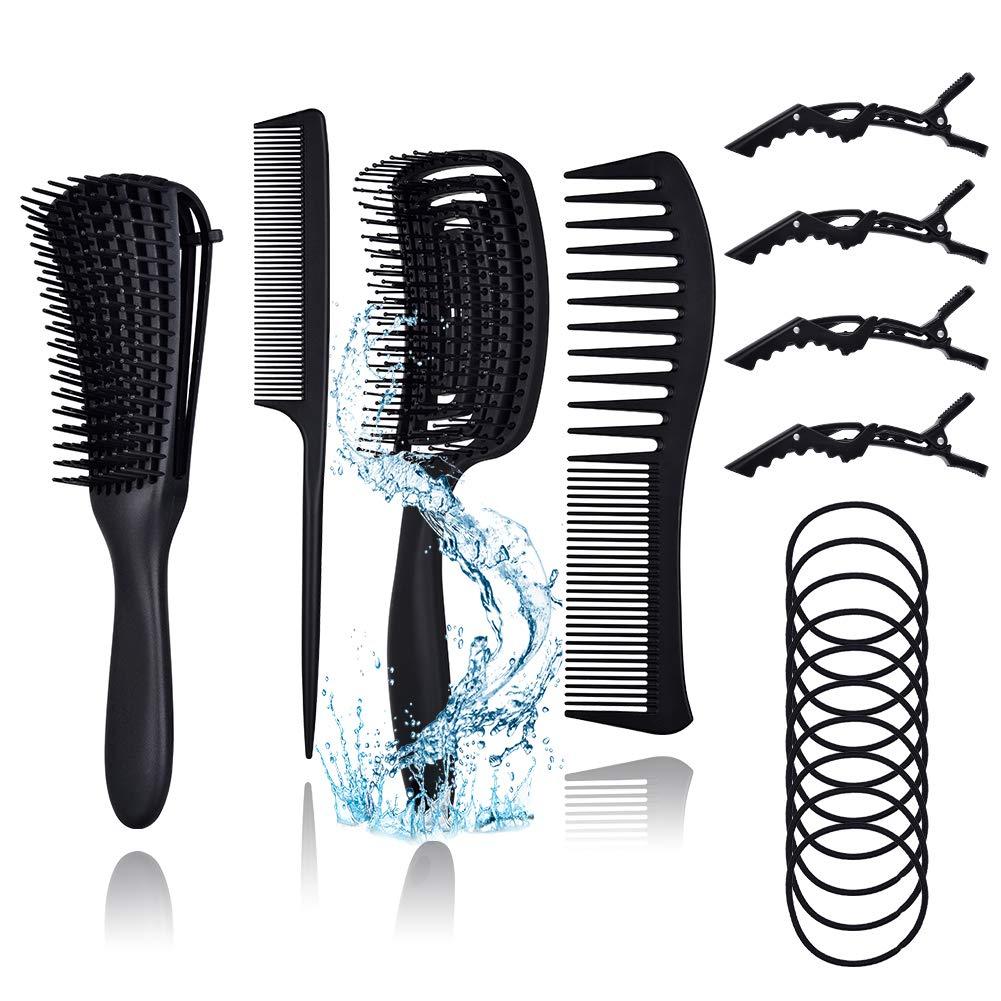 BAIYIYI 9Pcs Hair Brushes and Dedication Combs Men Women Clips for Detangli 4 years warranty