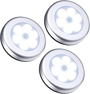 Bewinner Luz de Sensor de Movimiento 3Pcs PIR inalámbrico Sensor de Movimiento automático Luz Nocturna 6 Cuerpo Redondo de LED Batería alimentada Lámpara con luz de lámpara para Escalera, Gabinete