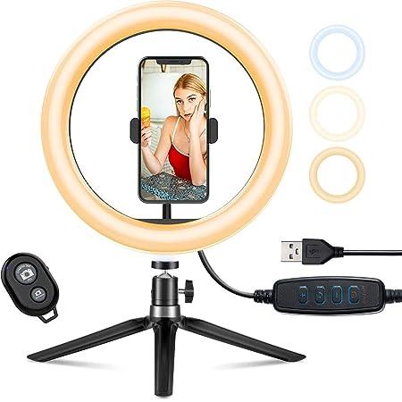 "Aro de Luz Trípode Fotografía, 10.2"" Anillo de Luz Selfie con Control Remoto 120 LED 3 Modos 11 Niveles de Luz para TikTok Youtube Instagram Vlog Vídeo Maquillaje Enseñanza para iOS Android"