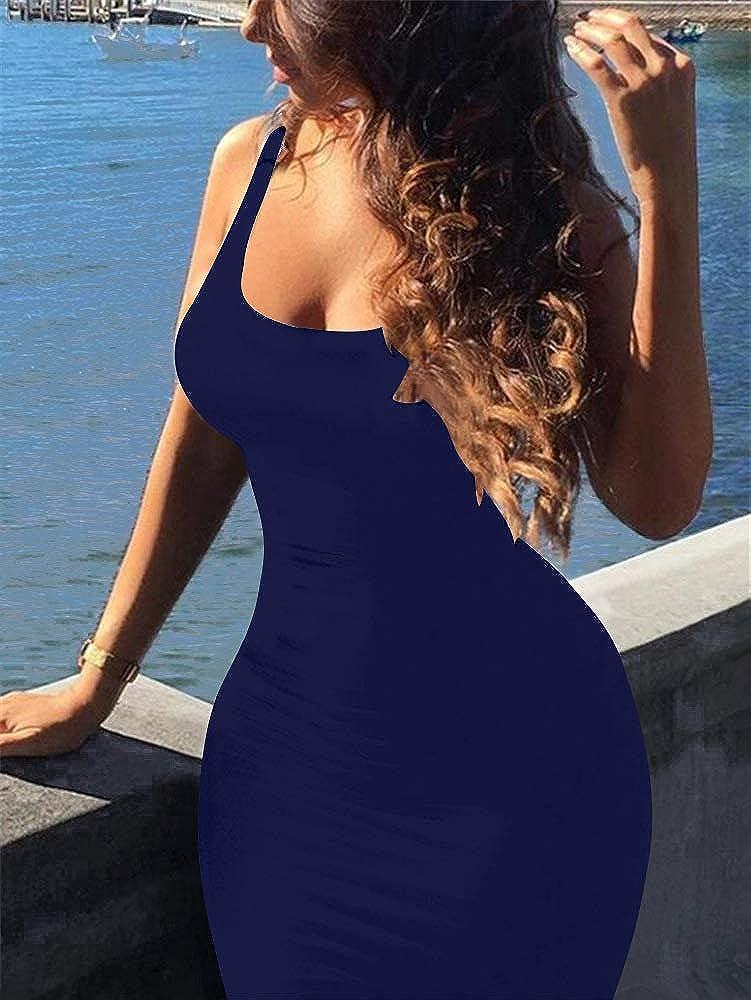 GOBLES Women's Casual Summer Sleeveless Mini Sexy Bodycon Tank Club Dress