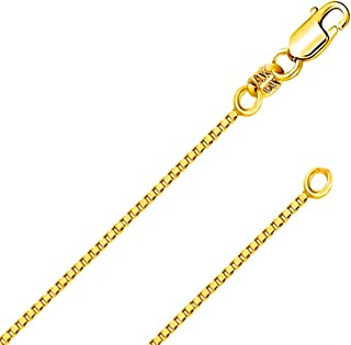 14K Solid Yellow or White or Rose/Pink Gold 0.5MM,0.7MM,0.9MM,1.1MM,1.2MM Italian Diamond Cut Box Chain Necklace - FREE Gift with Order